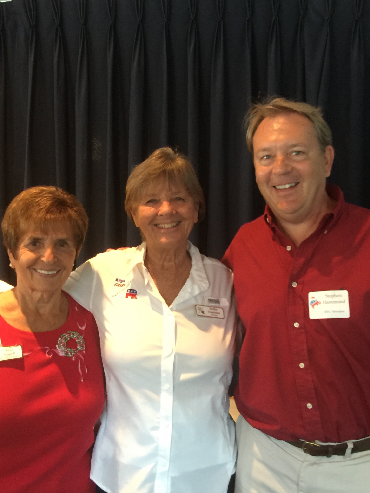 Christmas Luncheon 2015 Toni Appell, Debby Goodman, Stephen Hammond